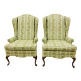 Image of Pair Vintage Wingback Arm Chairs For Sale