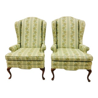 Pair Vintage Wingback Arm Chairs For Sale