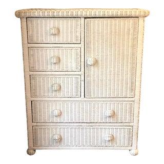 Vintage White Wicker 5 Drawer Dresser For Sale
