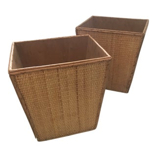Vintage Wicker/Rattan Wastebaskets - a Pair