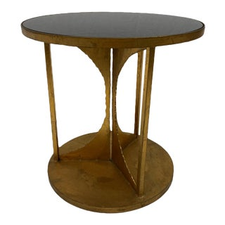 Hourglass Iron & Glass Side Table For Sale