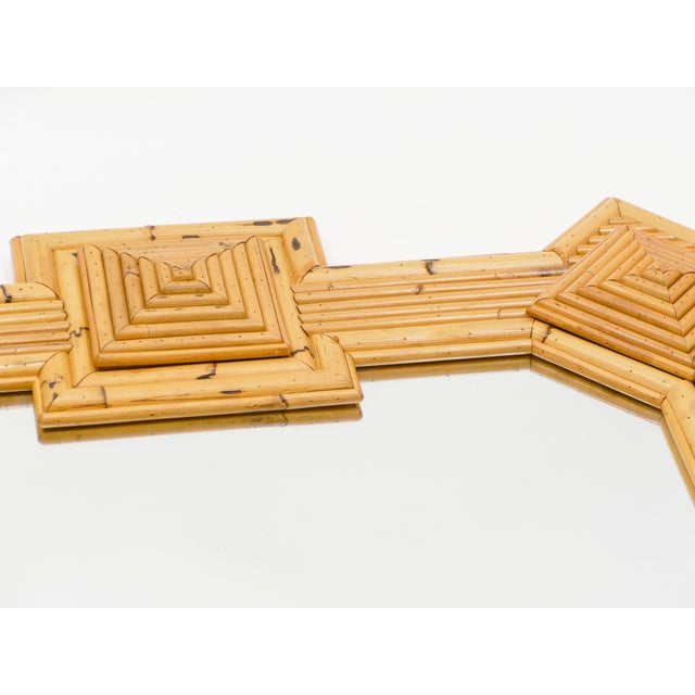 Wood 1970s Maurizio Mariani for Vivai Del Sud Roma Rattan Bamboo Mirror For Sale - Image 7 of 12