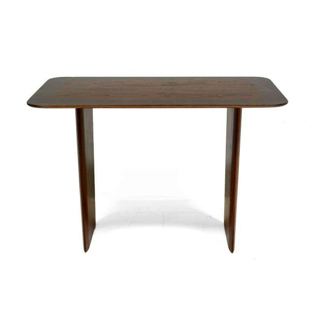 For your consideration a rare walnut side table by Robsjohn-Gibbings. Stamped WIDDICOMB. Retains WIDDICOMB label underneath.