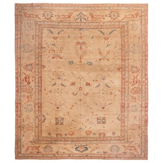 Sultanabad Pink Wool Rug With Geometric Floral Patterns - 9′8″ × 11′4″ For Sale