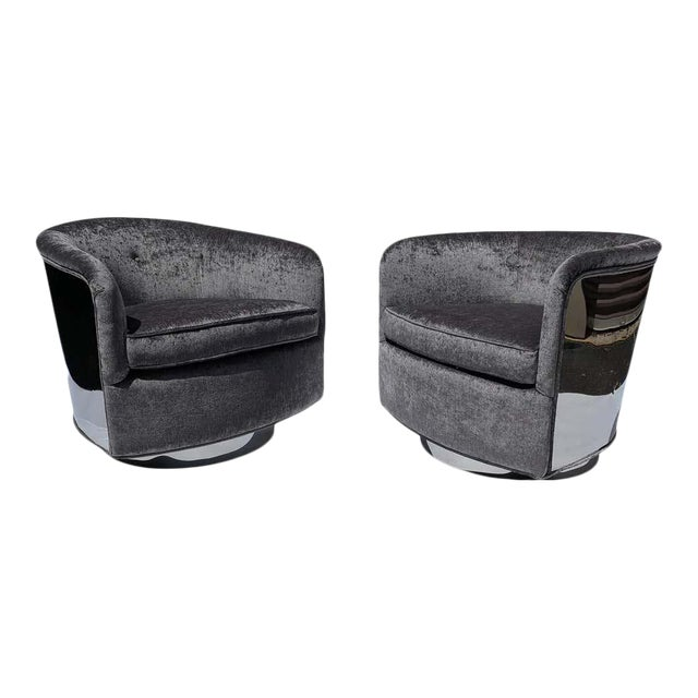 Restored Milo Baughman Chrome Back Barrel Chairs - a Pair For Sale