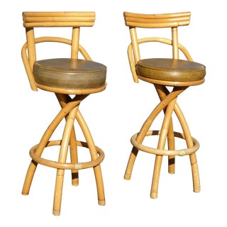 Pair of Mid Century Bamboo Swivel Bar Stools Gold & Sage Green Tiki Palm Beach For Sale