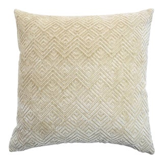 Modern FirmaMenta Italian Cream Geometric Linen Velvet Pillow For Sale