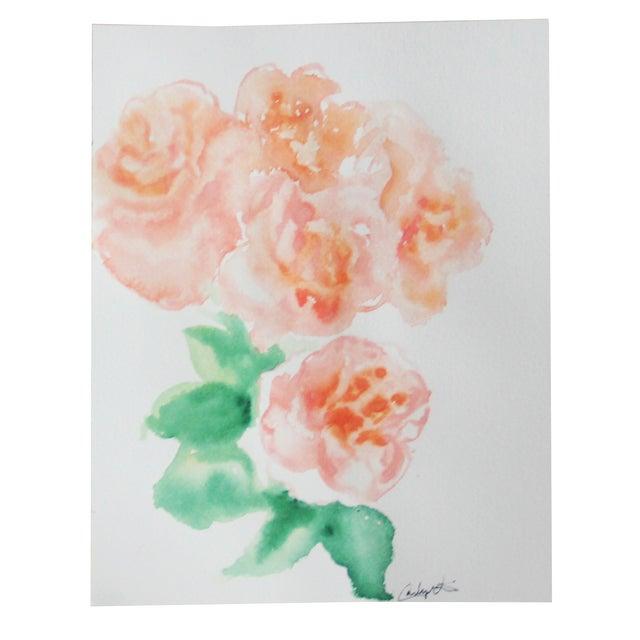 """Peach Peonies"" Watercolor Painting - Image 1 of 4"