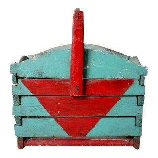 Antique Wooden Basket For Sale