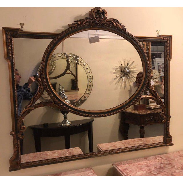 Hollywood Regency Finely Carved Hollywood Regency or Adams Style Over the Mantle or Wall Mirror For Sale - Image 3 of 13