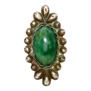 William Spratling Sterling Silver Brooch With Mexican Cabochon Jade For Sale