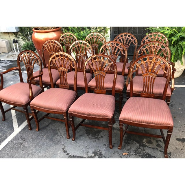 Set of 12 Maitland-Smith Georgian Mahogany Dining Chairs