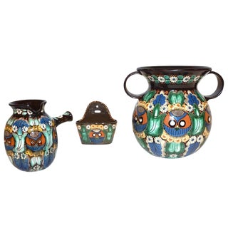 Antique Swiss Arts & Crafts Thoune Majolica Vase, Jug and Holder - 3 Pc. Set For Sale