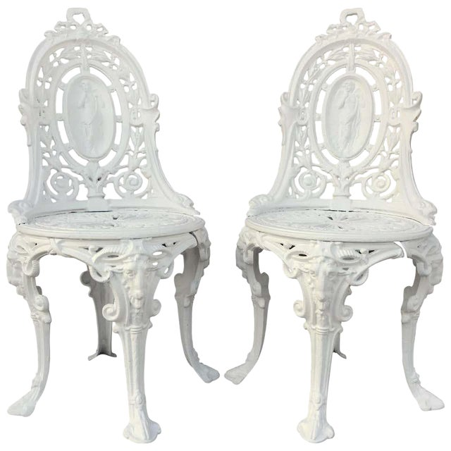 Pair of Victorian Angel Motif Wrought Iron Garden Chairs, Restored For Sale