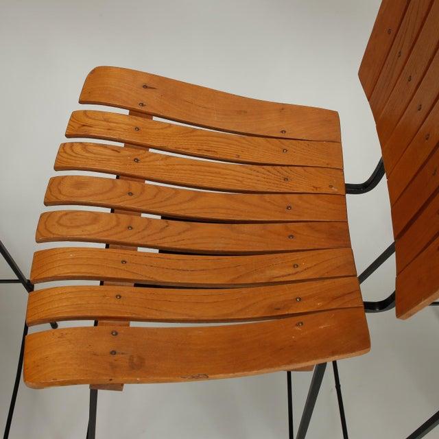 Arthur Umanoff Iron Slat Wood Swivel Bar Stools 4 - Image 6 of 6