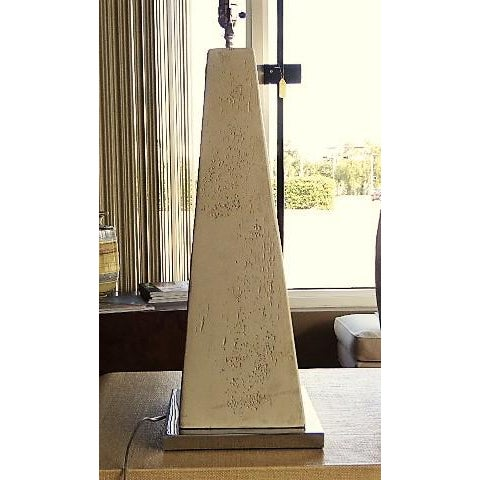 Beige 1970s Hollywood Regency Obelisk Table Lamps - a Pair ( No Shades). For Sale - Image 8 of 12