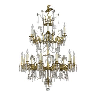 Victorian Brass and Crystal Eighteen Light Chandelier
