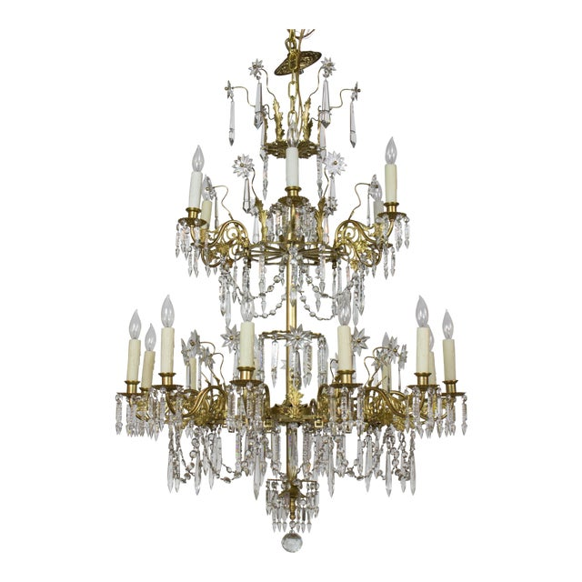 Victorian Brass and Crystal Eighteen Light Chandelier For Sale