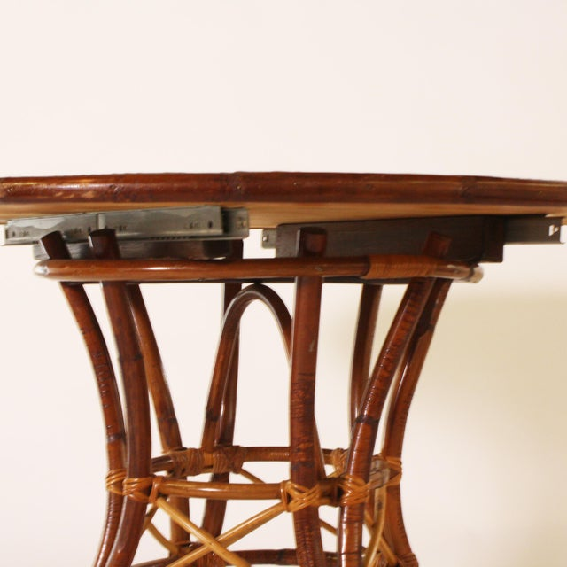 French Bamboo Round Table With Leaf C. 1960 For Sale - Image 4 of 9