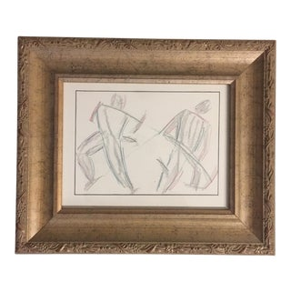 Original Deco Modernist Drawing Workmen