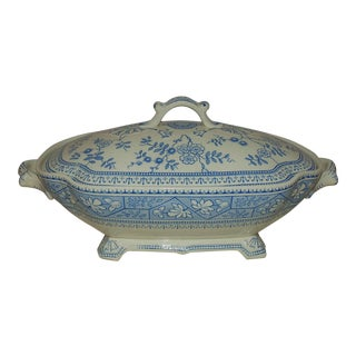 19th C. Vegetable Casserole Dish Blue & White Transferware Lewis Strauss & Sons Aesthetic Eastlake For Sale