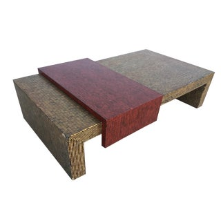 Two-Tone Cubist Style Coffee Table For Sale