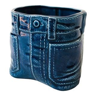 Vintage Blue Jean Ceramic Planter For Sale