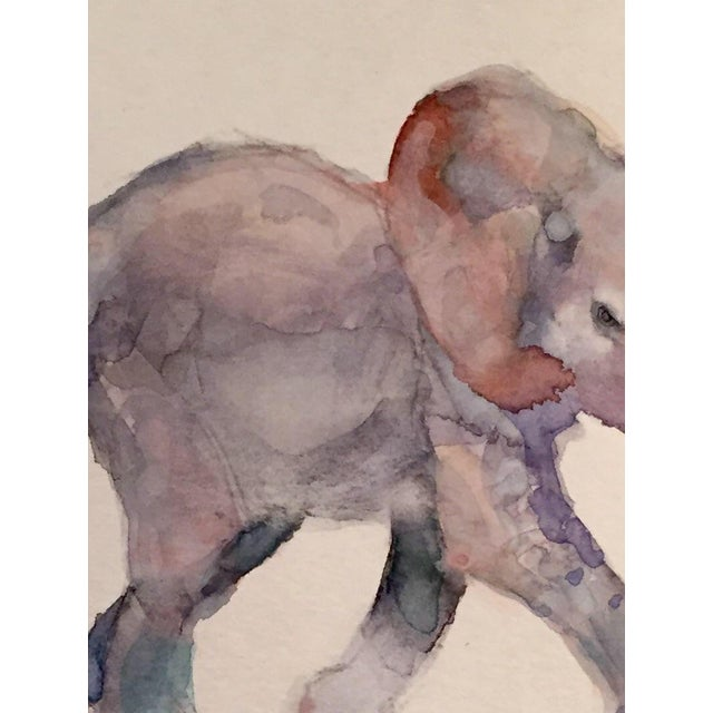 Contemporary Baby Elephant Watercolor - Image 2 of 2