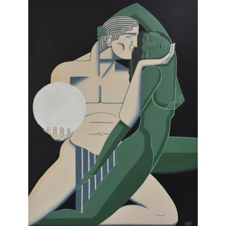 """Farewell to a Muse"" Art Deco Painting by Mike Willcox For Sale"