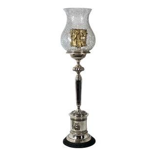 Silver Plated Vintage Torch Hurricane Holder Candle Holder Crackle Glass Trophy Urn Lamp For Sale