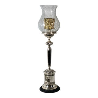 Vintage Silver Plated Torch Hurricane Holder Crackle Glass Trophy Urn Lamp For Sale