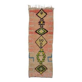Mid-Century Modern Vintage Berber Moroccan Runner with Tribal Design For Sale