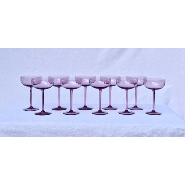 Glass Amethyst Crystal Champagne Coupes For Sale - Image 7 of 7