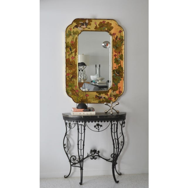 Hollywood Regency Hand-Painted Giltwood Wall Mirror For Sale - Image 11 of 12