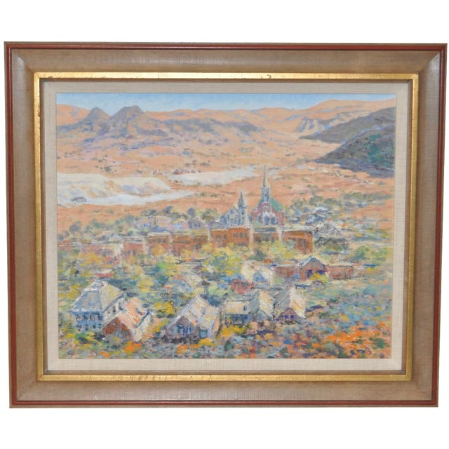 Western Mountain Village Oil Painting For Sale