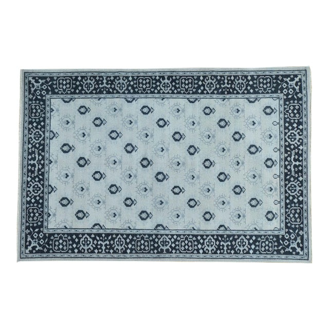 Hand-Knotted Wool Turkish Knot Oushak Cropped Rug- 9′2″ × 11′10″ For Sale