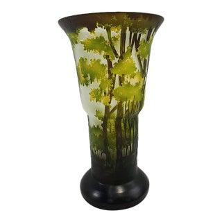 Mid 20th Century Tozai Art Nouveau Glass Forest Vase For Sale