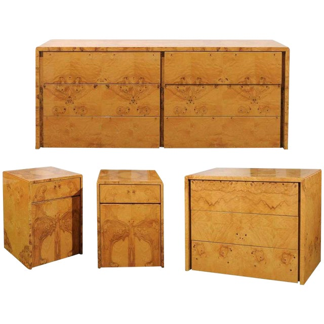 Milo Baughman Style Burl Wood Suite For Sale