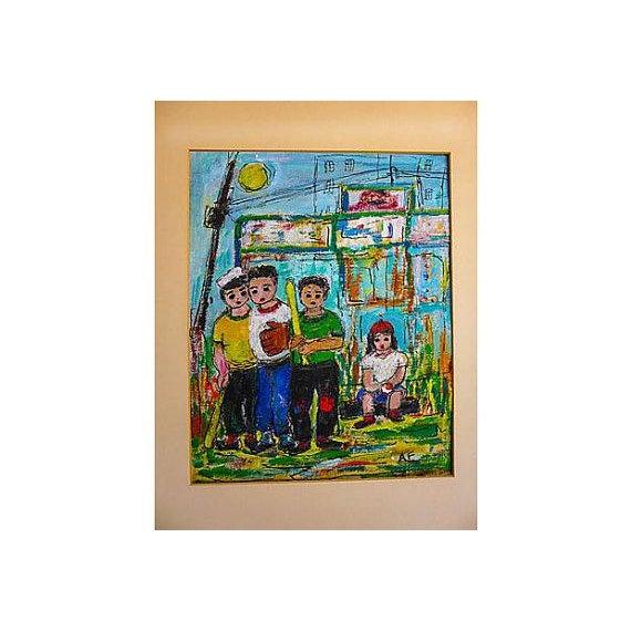 Original Oil Painting on Paper of Sandlot Kids - Image 4 of 6