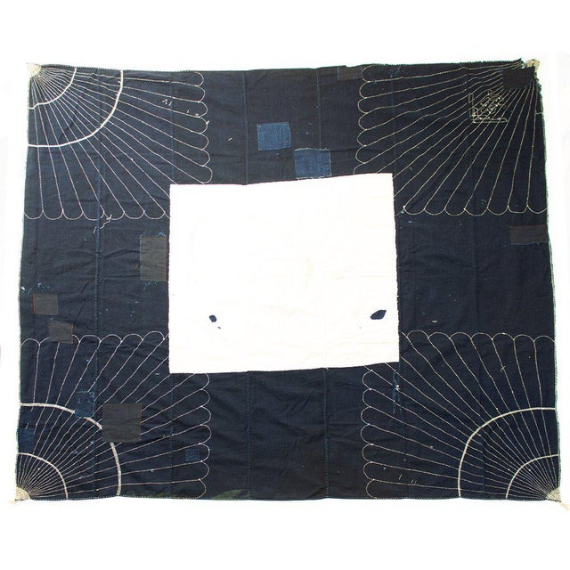 Cotton furoshiki 風呂敷 (wrapping cloth) with sashiko 刺し子 (traditional hand stitching or quilting used as reinforcement and...