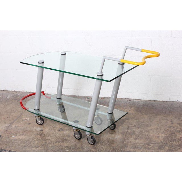An early example of the Hilton trolley bar cart by Javier Mariscal for Memphis.