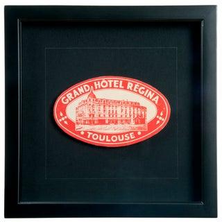 Vintage Framed French Regina Hotel Luggage Label