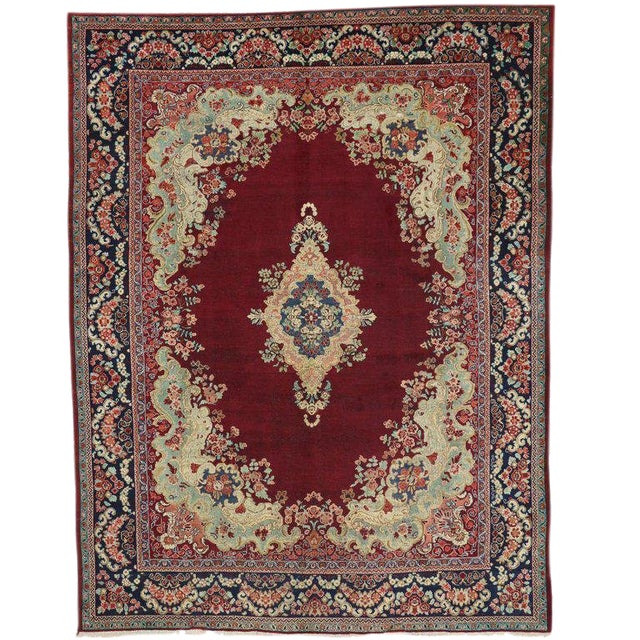 Vintage Mid-Century Persian Mahal Rug - 10′5″ × 13′7″ For Sale