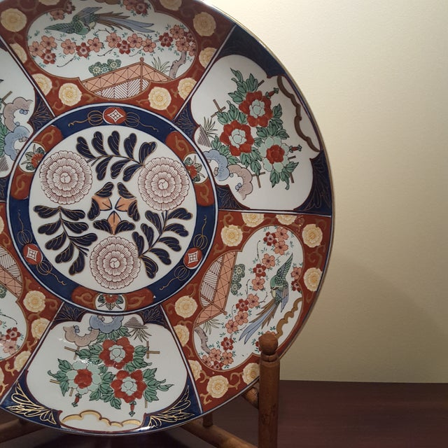 Asian Vintage Imari Porcelain Charger on Bamboo Stand For Sale - Image 3 of 8