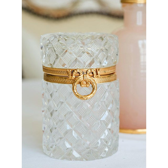 Gold Antique French Cut Crystal Trinket Box For Sale - Image 8 of 10