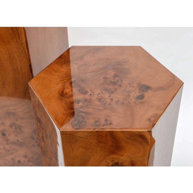 Hexagonal Burl Wood Pedestals - Set of 3 For Sale - Image 5 of 10