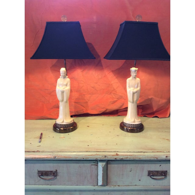 Vintage 1940s Asian Porcelain Figure Lamps With Silk Pagoda Style Shades - a Pair For Sale - Image 4 of 12