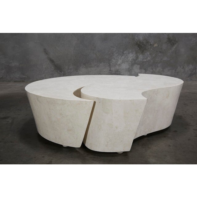 """1990s Contemporary Freeform White Stone Two Part """"Hampton"""" Coffee Table For Sale - Image 12 of 13"""