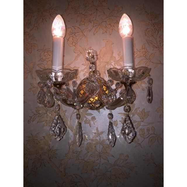 French Crystal Sconces - Pair - Image 5 of 6