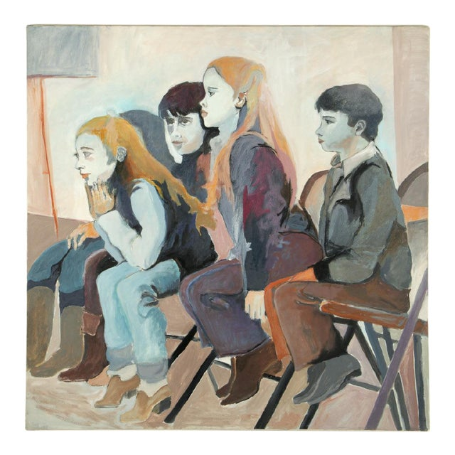 """Original Frances Jacobson Painting of Seated Children - 36x36"""" For Sale"""